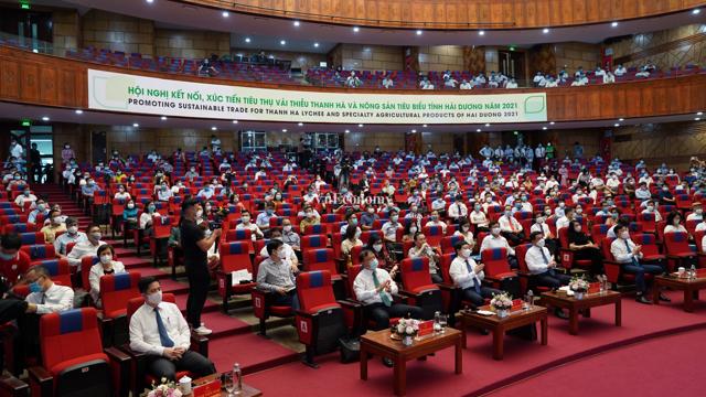 [Phóng sự ảnh] Hội nghị kết nối, xúc tiến tiêu thụ vải thiều Thanh Hà và nông sản tiêu biểu tỉnh Hải Dương 2021