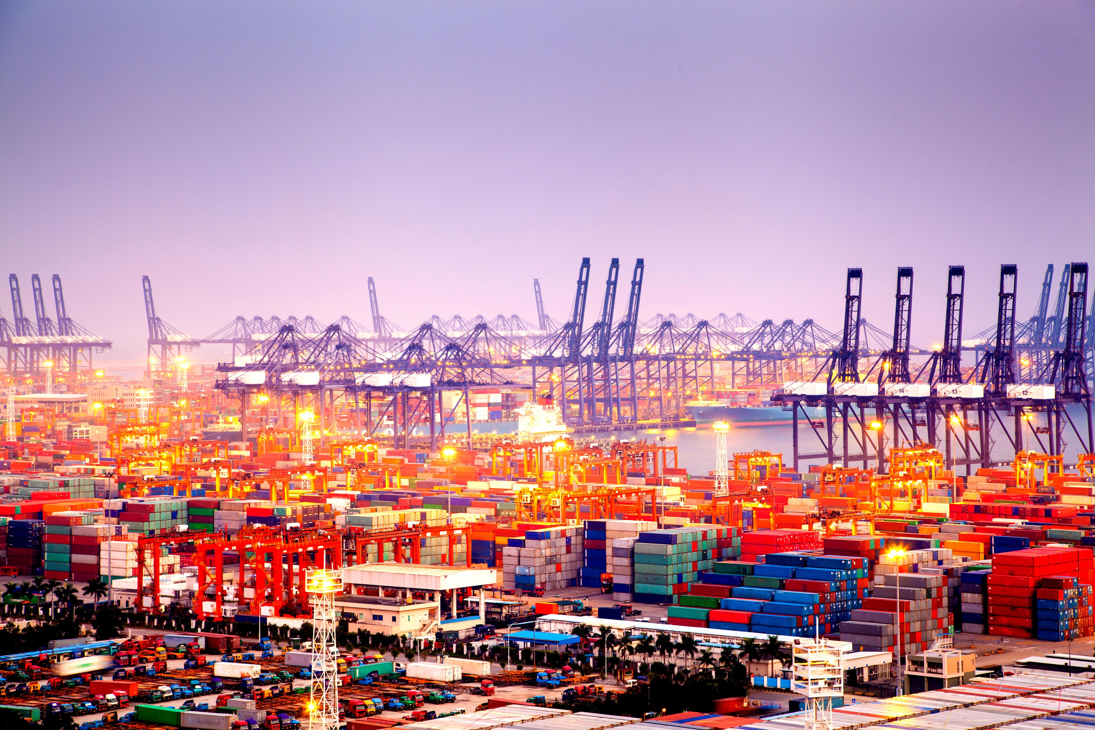 Cảng container quốc tế Diêm Điền ở Thẩm Quyến, Quảng Đông, Trung Quốc.