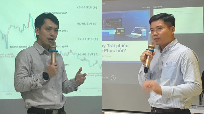Ông Lê Chí Phúc (trái) và ông Nguyễn Quang Thuân (phải) phát biểu tại hội thảo.