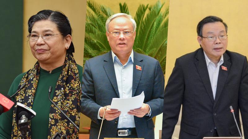 Từ trái qua phải: Bà Tòng Thị Phóng, ông Uông Chu Lưu và ông Phùng Quốc Hiển - Ảnh: Quochoi.vn