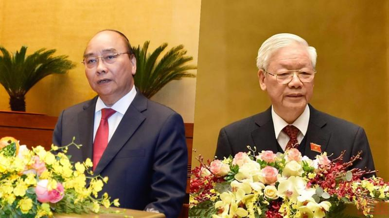 Thủ tướng Chính phủ Nguyễn Xuân Phúc (trái) và Tổng bí thư, Chủ tịch nước Nguyễn Phú Trọng - Ảnh: Quochoi.vn