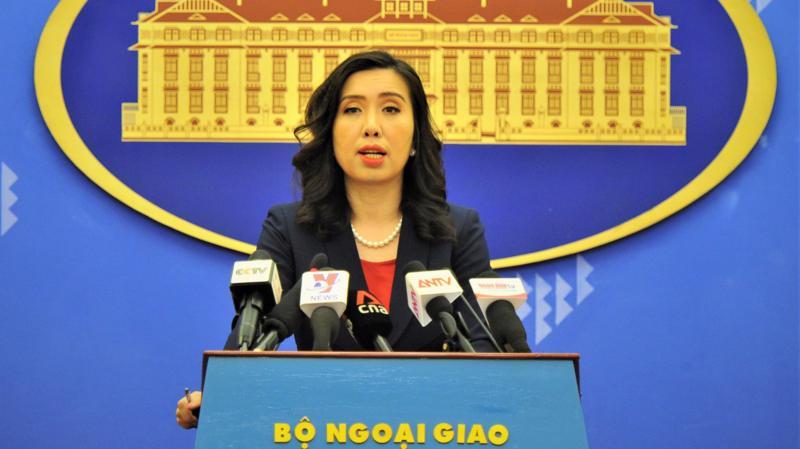 Người phát ngôn Bộ Ngoại giao Lê Thị Thu Hằng tại họp báo chiều 8/4 - Ảnh: Bộ Ngoại giao