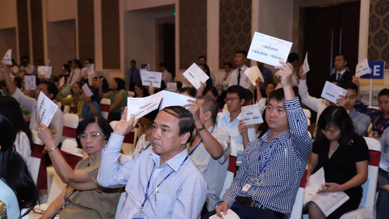 Cổ đông Sacombank biểu quyết thông qua các nội dung chính tại đại hội.
