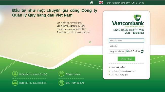 Giao diện trang web giả mạo dịch vụ ngân hàng điện tử của Vietcombank.