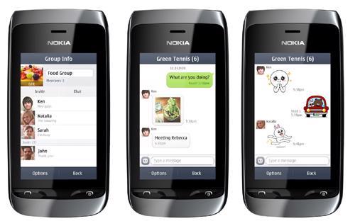 Ứng dụng LINE cho Nokia Asha sẽ có các tính năng thiết yếu như trò chuyện, trò chuyện nhóm, các biểu tượng sticker truyền thống.