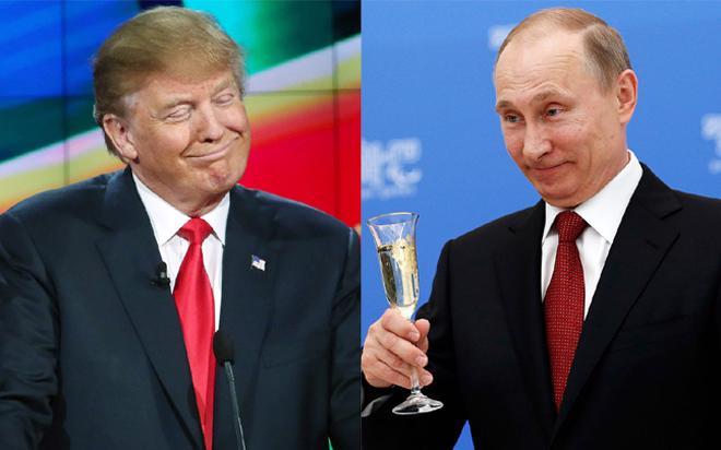 Tổng thống đắc cử của Mỹ Donald Trump và Tổng thống Nga Vladimir Putin.<br>