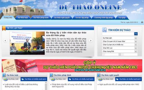 Giao diện website dự thảo online của Quốc hội - một trong những kênh thu nhận ý kiến nhân dân về dự thảo sửa đổi Hiến pháp năm 1992.<br>