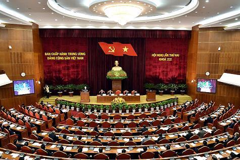 Ngày làm việc thứ hai của hội nghị lần thứ hai Ban Chấp hành Trung ương Đảng khóa 12, hôm 11/3 - Ảnh: VGP.
