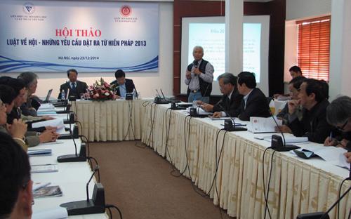 Một cuộc hội thảo về dự thảo Luật Về hội, do Liên hiệp Các hội khoa học và kỹ thuật Việt Nam phối hợp với Ủy ban Pháp luật của Quốc hội tổ chức cuối năm 2014 - Ảnh: VUSTA.<br>