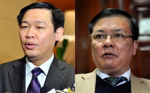Bộ trưởng Tài chính Vương Đình Huệ (trái) và Tổng kiểm toán Nhà nước Đinh Tiến Dũng.