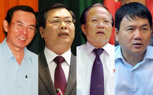 Từ trái sang phải, các bộ trưởng: Nguyễn Văn Nên, Vũ Huy Hoàng, Hoàng Tuấn Anh và Đinh La Thăng.<br>