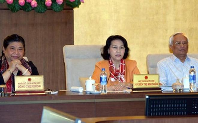 """Chủ tịch Quốc hội Nguyễn Thị Kim Ngân (giữa) sốt ruột vì """"sợi dây kinh nghiệm rút hoài không hết""""."""
