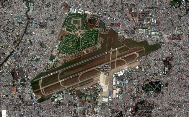 Vị trí sân golf trong sân bay Tân Sơn Nhất trên bản đồ Google Map.<br>