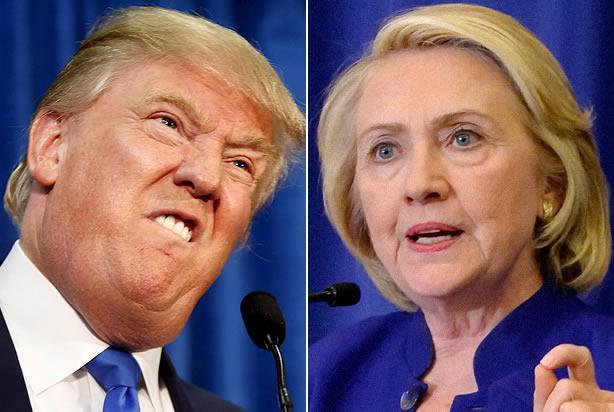 Ông Donald Trump (trái), ứng cử viên của Đảng Cộng hòa, và bà Hillary Clinton, ứng cử viên của Đảng Dân chủ, trong cuộc bầu cử Tổng thống Mỹ năm 2016 - Ảnh: Salon.<br>