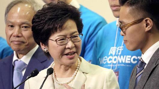 Bà Carrie Lam, người vừa được bầu làm trưởng đặc khu hành chính mới của Hồng Kông - Ảnh: Bloomberg/CNBC.<br>