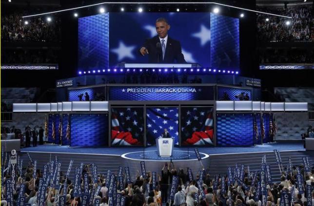 Tổng thống Mỹ Barack Obama phát biểu tại đại hội Đảng Dân chủ ngày 27/7 - Ảnh: Reuters.<br>