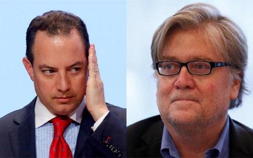 Ông Reince Priebus (trái) và ông Stephen Bannon (phải) - Ảnh: Reuters.<br>