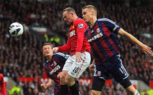 Một trận đấu bóng đá thuộc giải Ngoại hạng Anh.<br>