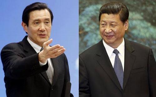 Nhà lãnh đạo Đài Loan Mã Anh Cửu (trái) và Chủ tịch Trung Quốc Tập Cận Bình - Ảnh: WantChina Times.<br>