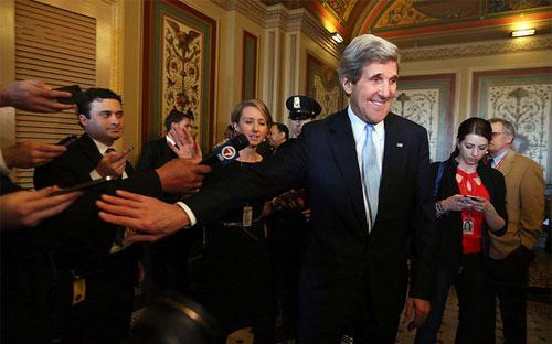 Ông John Kerry phát biểu trước báo giới ngày 29/1 tại Đồi Capital - Ảnh: Alex Wong/Getty Images.