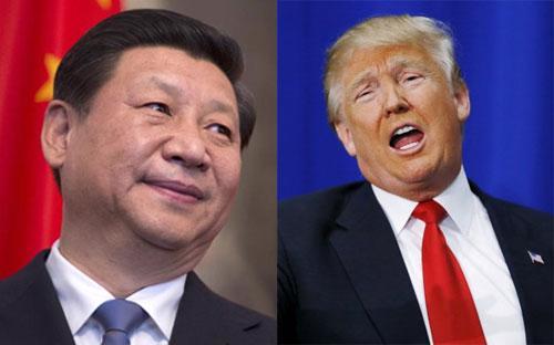Chủ tịch Trung Quốc Tập Cận Bình (trái) và Tổng thống đắc cử của Mỹ Donald Trump.<br>