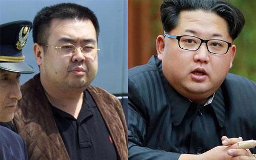 Nhà lãnh đạo Triều Tiên Kim Jong Un (phải) và người anh trai Kim Jong Nam - Ảnh: Reuters.<br>