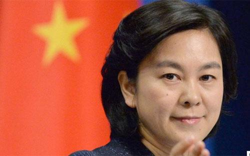 Phát ngôn viên Bộ Ngoại giao Trung Quốc Hoa Xuân Oánh - Ảnh: Kyodo/SCMP.<br>