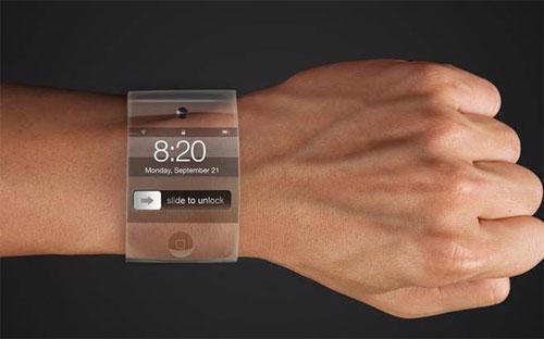 """<span id=""""div"""" class=""""fl w100 mt10 span-detailimages relative"""">Mẫu đồng hồ iWatch sử dụng màn hình cong theo mô tả của tờ New York Times - Ảnh: New York Times.</span>"""