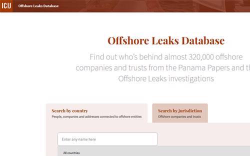 Đã có thể tra cứu dữ liệu vụ Panama Papers trên website của Hiệp hội Nhà báo điều tra Quốc tế (ICIJ) - Ảnh chụp màn hình.<br>