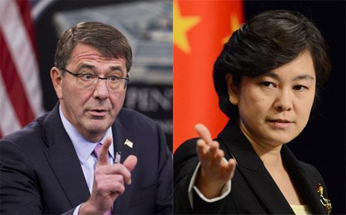 Bộ trưởng Bộ Quốc phòng Mỹ Ash Carter (trái) và phát ngôn viên Bộ Ngoại giao Trung Quốc Hoa Xuân Oánh.<br>
