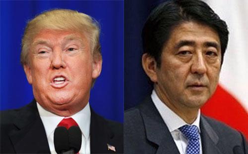 Tổng thống đắc cử của Mỹ Donald Trump (trái) và Thủ tướng Nhật Bản Shinzo Abe.<br>