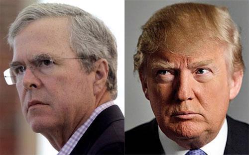 Ông Jeb Bush (trái) và ông Donald Trump, hai ứng cử viên tổng thống Mỹ của đảng Cộng hòa.<br>