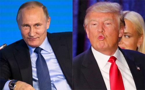 Tổng thống Nga Vladimir Putin (trái) và Tổng thống đắc cử của Mỹ Donald Trump.<br>