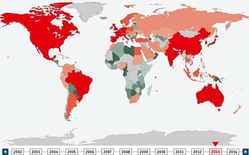 Bản đồ nợ công toàn cầu <i>- Ảnh: The Economist</i>.<br>