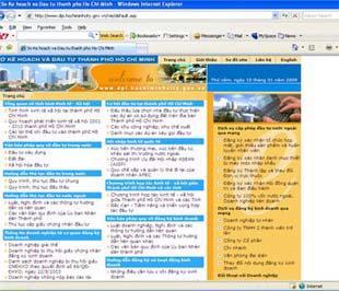 Giao diện trang web www.dpi.hochiminhcity.gov.vn.