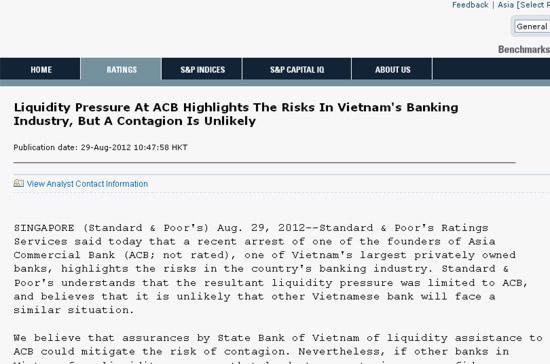 Trong tuyên bố này, S&P đánh giá cao những chuyển biến vĩ mô tích cực của kinh tế Việt Nam.