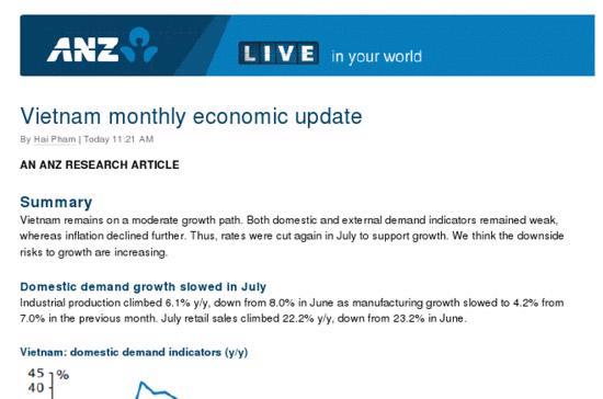 Báo cáo ra ngày 2/8 của ANZ nhận định, tốc độ tăng trưởng GDP của Việt Nam trong những tháng tới có thể được nâng cao.