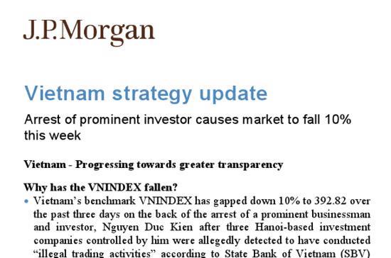 JPMorgan Chase cho biết, những cổ phiếu mà họ khuyến nghị các nhà đầu tư mua vào là cổ phiếu thuộc các ngành tiêu dùng, dược phẩm, cơ sở hạ tầng và một số doanh nghiệp xuất khẩu có chọn lựa.