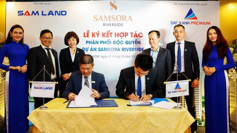 Lễ ký kết giữa chủ đầu tư Samland và đơn vị phân phối Đất xanh Premium.