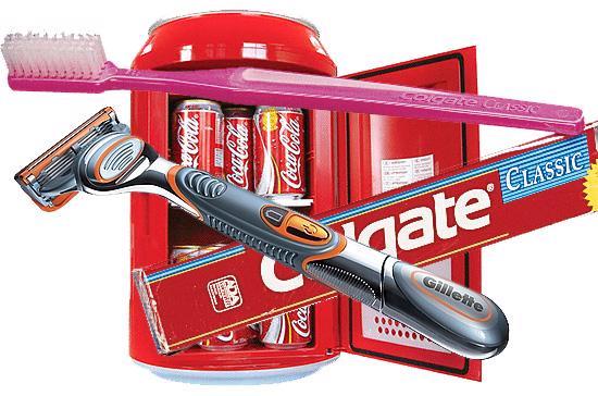 Tuy là những mặt hàng có giá khiêm tốn, đây đều là những sản phẩm có thương hiệu mạnh, như nước giải khát Coke, kem đánh răng Colgate hay dao cạo râu Gillette.