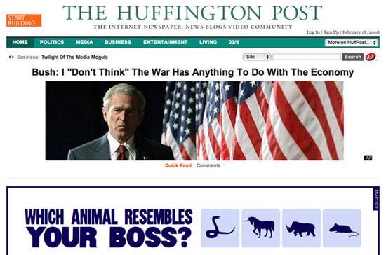 Huffington Post nổi tiếng từ cuộc bầu cử tổng thống Mỹ năm 2008.