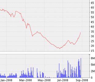 Biểu đồ diễn biến giá cổ phiếu STB từ đầu năm 2008 đến nay - Nguồn ảnh: VNDS.