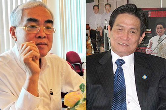 Ông Lê Hùng Dũng (bên trái) và ông Đặng Văn Thành. Tỷ lệ sở hữu của các cổ đông lớn rất thấp tại Sacombank là một cơ hội cho tổ chức khác tiến hành thâu tóm.