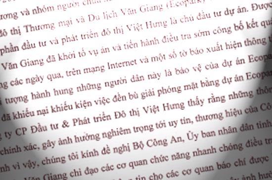 """Theo công văn của Vihajico, đây là những đối tượng """"chưa xác định được danh tính"""" và hiện công an huyện Văn Giang đã tiến hành điều tra để sớm công bố trước dư luận."""