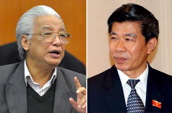 Từ trái sang phải: các cựu Thống đốc Ngân hàng Nhà nước Cao Sỹ Kiêm và Lê Đức Thúy.