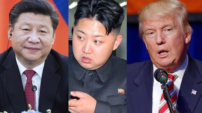 Từ trái qua: Chủ tịch Trung Quốc Tập Cận Bình, nhà lãnh đạo Triều Tiên Kim Jong Un và Tổng thống Mỹ Donald Trump.