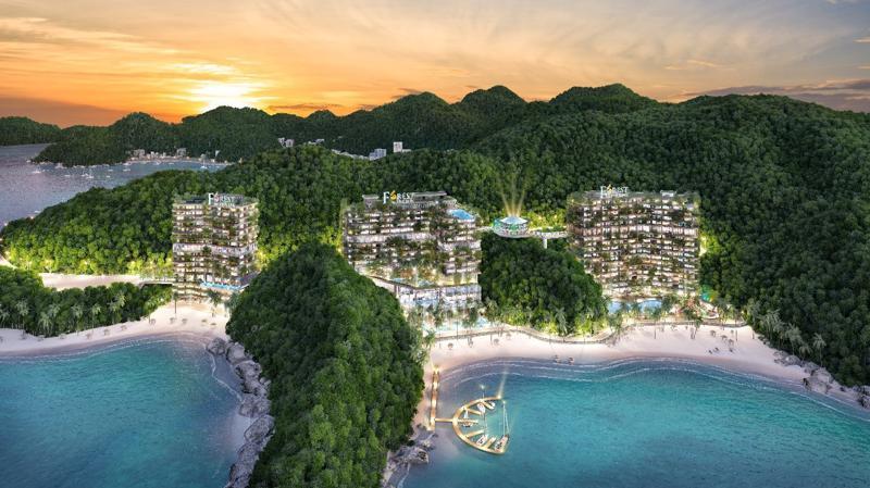 Flamingo Cát Bà Beach Resort kế thừa và phát huy kiến trúc của tòa nhà 5 vạn cây xanh Forest In The Sky tại Flamingo Đại Lải Resort.