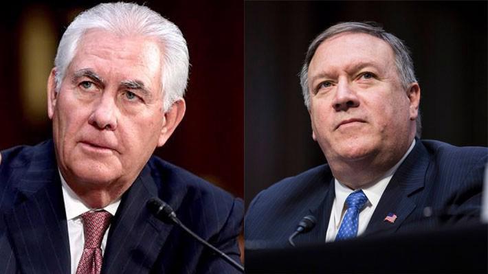 Ông Rex Tillerson (trái) và ông Mike Pompeo.