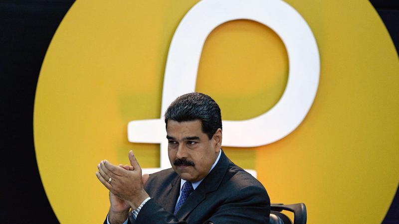 Tổng thống Venezuela Nicolas Maduro trong một buổi giới thiệu về tiền ảo Petro.