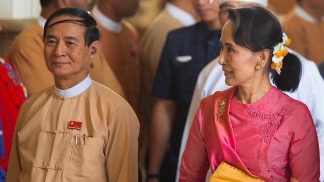 Tân Tổng thống Myanmar Win Myint (trái) và nhà lãnh đạo Aung San Suu Kyi - Ảnh: Reuters/BBC.